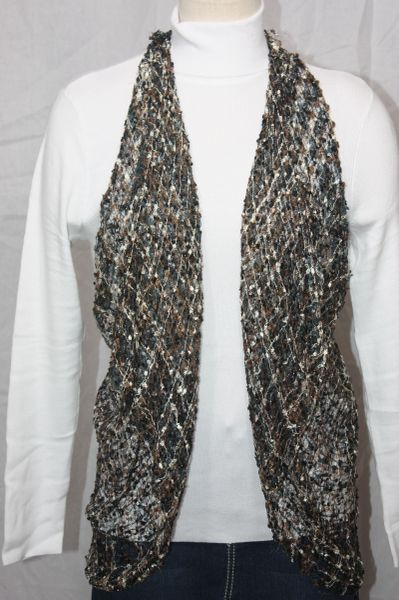 Woven Brown/Grey/Cream Vest/Scarf