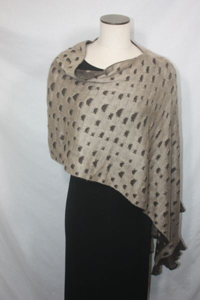 Beige and Brown Sweater Fabric Poncho