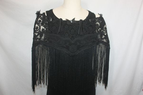 Black Lace Fabric with Stone Embellished Border Poncho