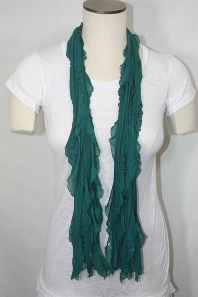 Green with Sequin Flutter Scarf