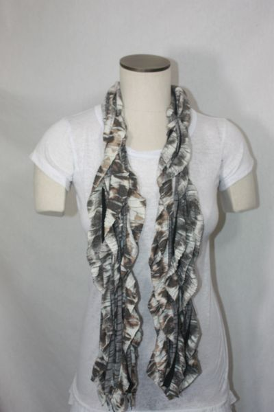 Brown Leopard Jersey Knit Flutter Scarf