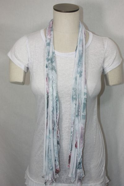 Gray, Pink and Sequin Flutter Scarf