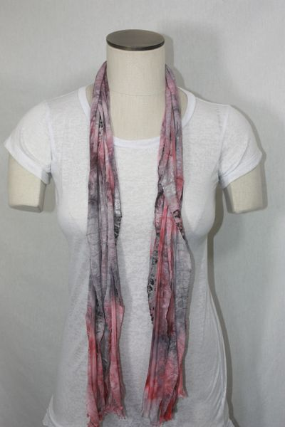 Pink, Gray and Black Leopard Tiedye Flutter Scarf
