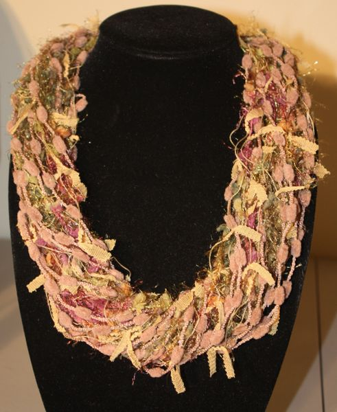 Beige/Olive Green/Mauve Yarn Necklace Scarf
