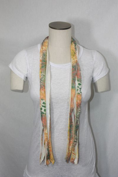 Yellow Green Orange and White Tiedye Flutter Scarf