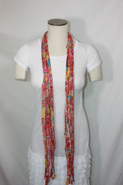 Red, Orange, Yellow, Turquoise Floral Pattern Flutter Scarf