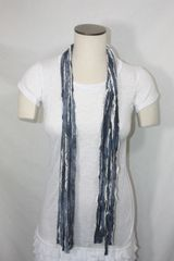 Denim Blue and Off White Flutter Scarf