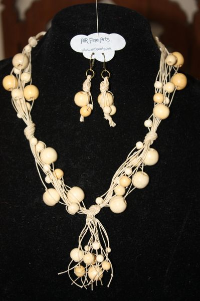 Handknotted Irish Linen Beige Wood Necklace/Earring Set