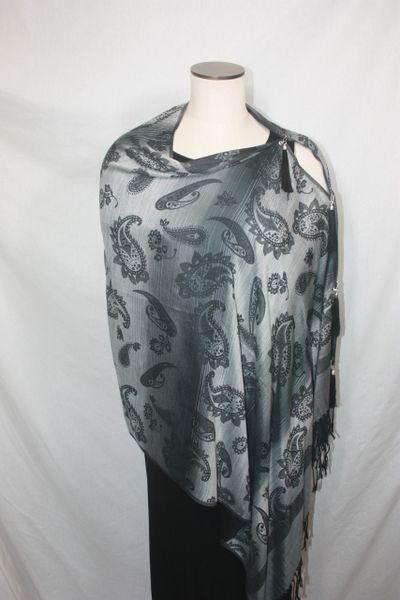 Pashmina Poncho - Black and Silver Paisley Pattern