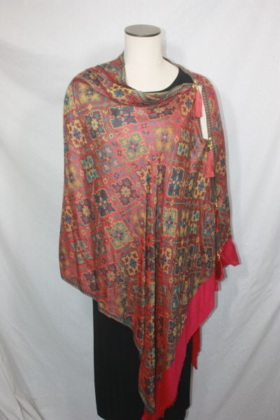Pashmina Poncho - Red and Yellow Silk Modal Multi Color