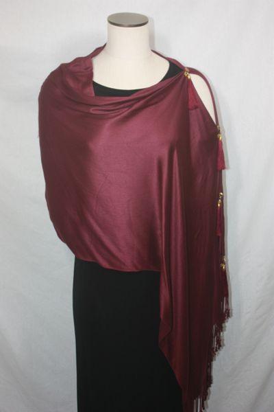 Pashmina Poncho - Burgundy Silk Modal