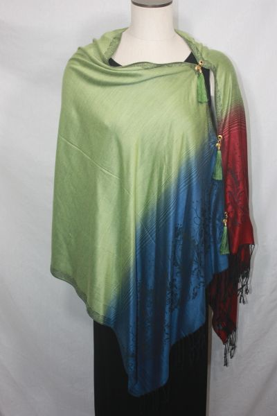 Pashmina Poncho - Light Olive, Teal Blue and Red