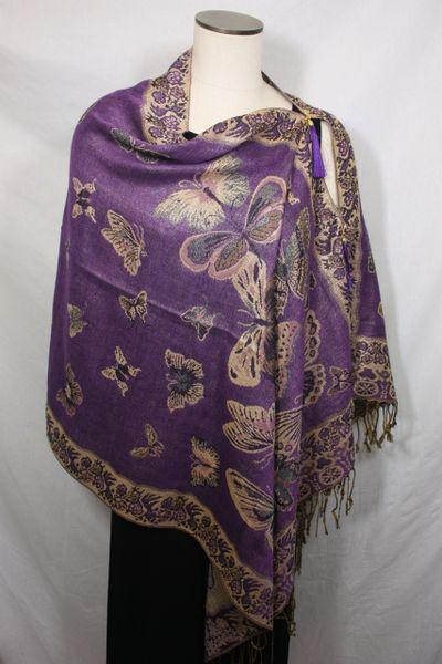 Pashmina Poncho - Purple and Gold Butterfly Pattern