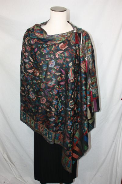 Pashmina Poncho - Black and Multi-Color Paisley Pattern Silk Modal