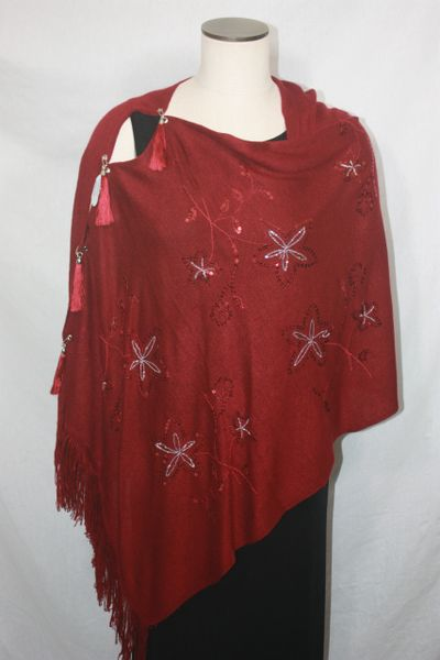 Woven Shades of Dark Red Sweater Vest/Poncho/Scarf with Tassel Accents