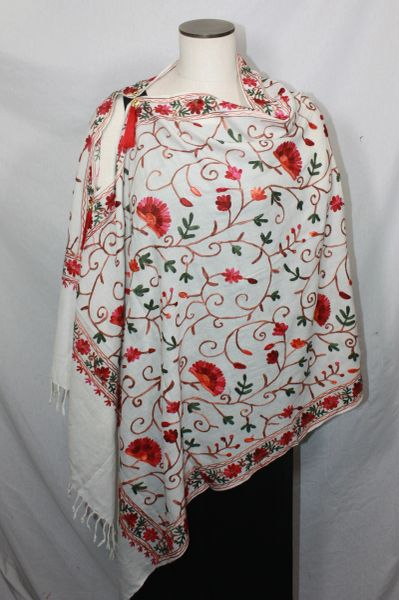White, Red, Brown and Green Medium Embroidered Kashmiri 100% wool 4 Way Ponchos Pashminas with Tassel Accents