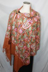 Coppery Brown, Pink, Red, Blue and Green Heavy Embroidered Kashmiri 100% wool 4 Way Ponchos Pashminas with Tassel Accents