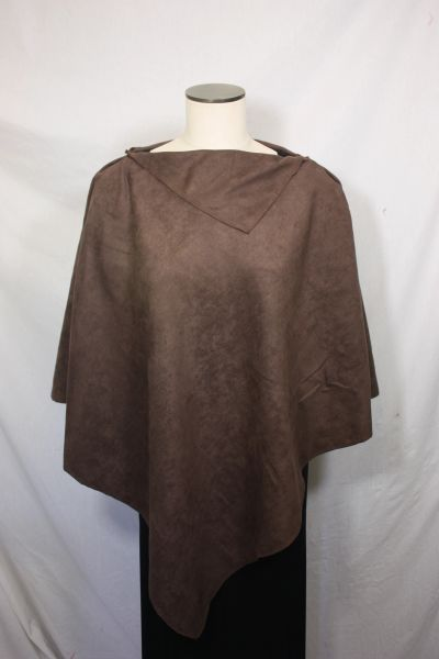 Chocolate Brown Microsuede Poncho