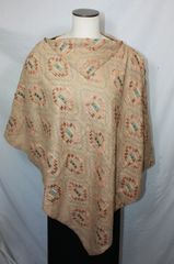 Light Brown Embroidered Microsuede Poncho