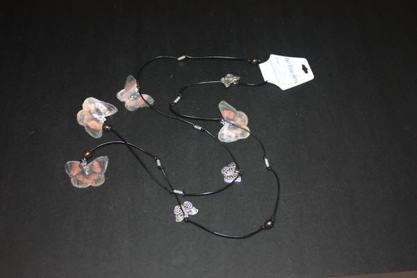 Black Leather Lariat Necklace with Brownish Black Freshwater Pearl and Silk Organza Butterfly