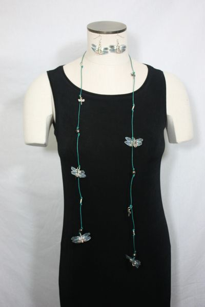 Green Leather Lariat Necklace with Green Freshwater Pearls and Silk Organza Dragonfly
