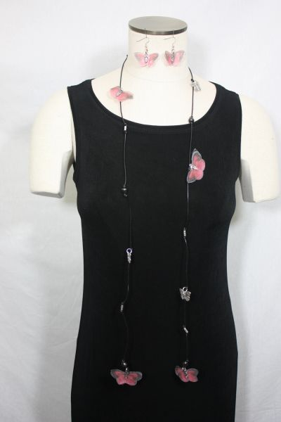 Black Leather Lariat Necklace with Black Freshwater Pearls and Silk Organza Butterfly