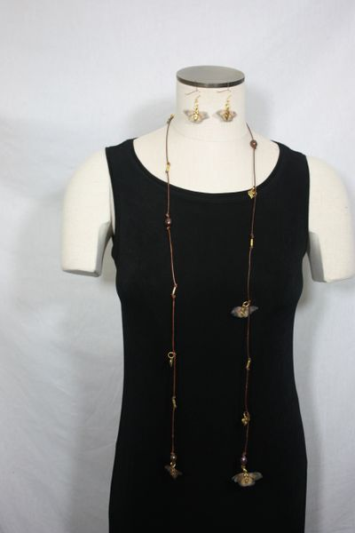 Brown Leather Lariat Necklace with Brown Freshwater Pearls and Silk Organza Butterfly