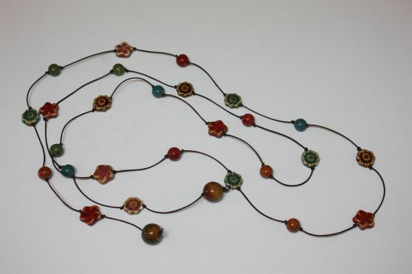 Brown Leather Lariat Necklace with Brown, Red, Blue and Green Ceramic