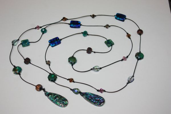 Black Leather Lariat Necklace with Blue Green Crystal, Lampwork bead and Druzy