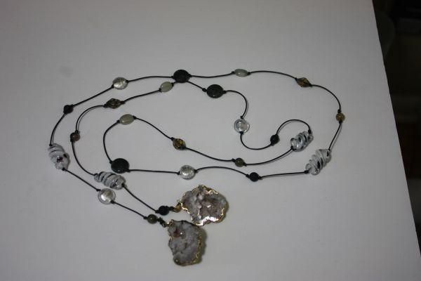 Black Leather Lariat Necklace with Stone, Lampwork Glass and Druzy