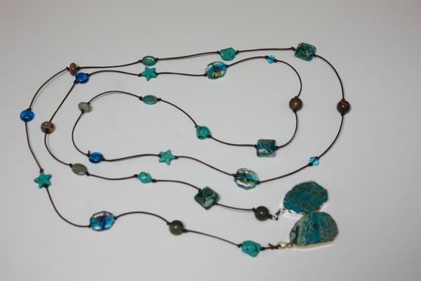 Brown Leather Lariat Necklace with Turquoise Stone, Lampwork Glass and Turquoise Pendants