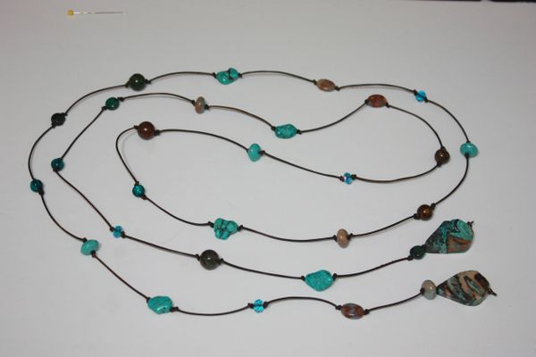 Brown Leather Lariat Necklace with Turquoise, Stone Beads and Turquoise Pendants