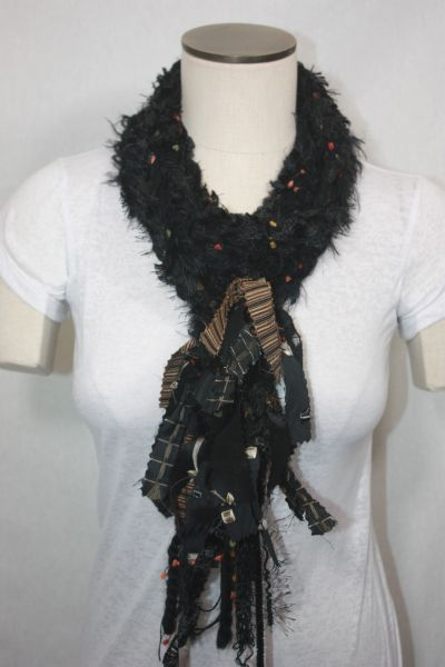 Black Yarn Pigtail Scarf with Fabric Embellishment