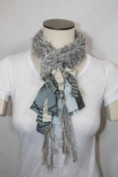 Light Gray Yarn Pigtail Scarf with Fabric Embellishment