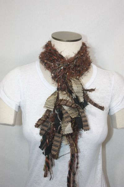 Brown and Black Yarn Pigtail Scarf with Fabric Embellishment