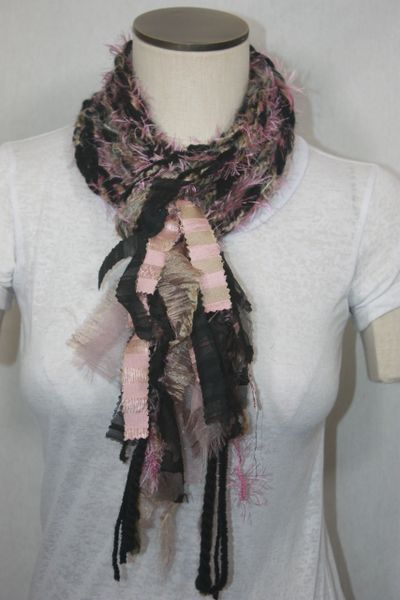 Black and Pink Yarn Pigtail Scarf with Fabric Embellishment