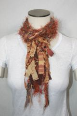 Burnt Orange and Brown Yarn Pigtail Scarf with Fabric Embellishment