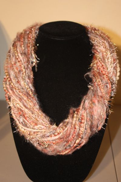 Beige/Orange/Mauve Yarn Necklace Scarf