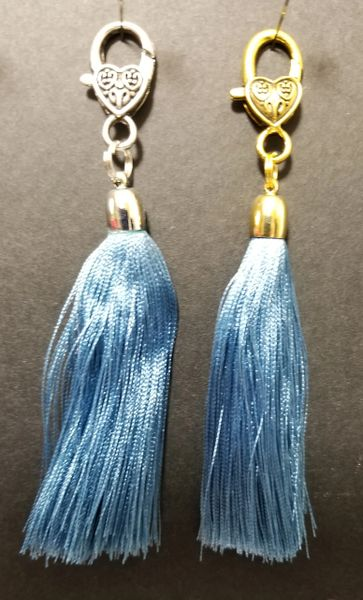 Light Navy Blue Silk Tassels with a Lobster Claw Clasp