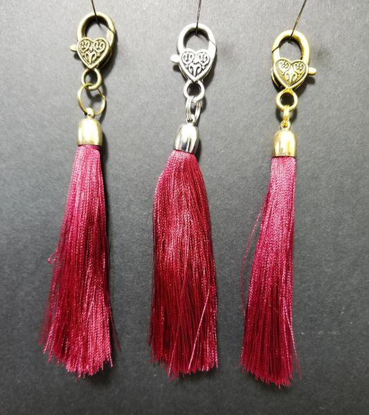 Dark Red Silk Tassels with a Lobster Claw Clasp