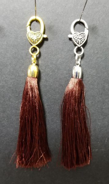 Chocolate Brown Silk Tassels with a Lobster Claw Clasp