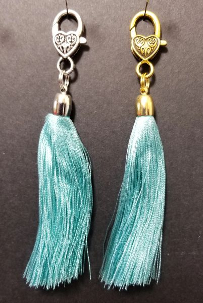 Light Teal Silk Tassels with a Lobster Claw Clasp