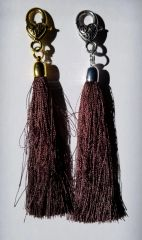 Dark Ochre Brown Silk Tassels with Clasp