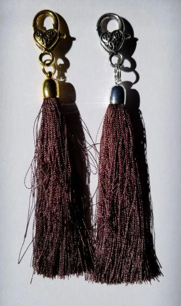 Dark Ochre Brown Silk Tassels with Clasp