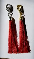 Dark Burnt Orange Silk Tassels with Clasp