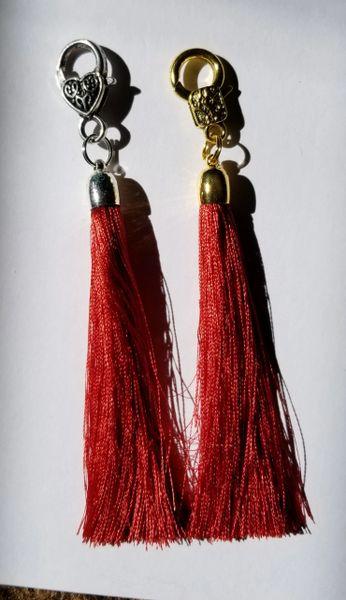 Dark Burnt Orange Silk Tassels with Clasp