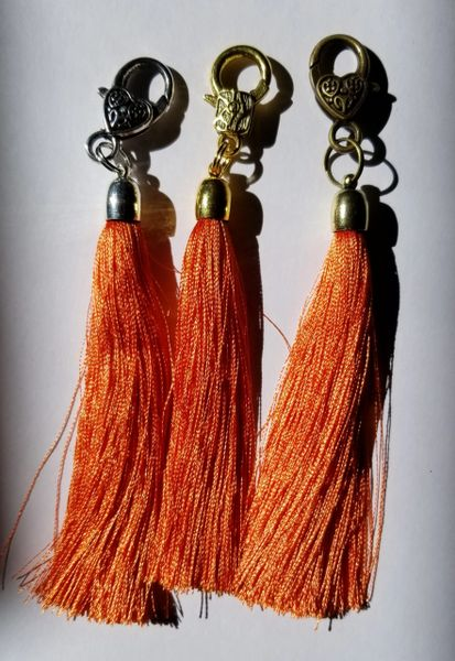Light Burnt Orange Silk Tassels with Clasp
