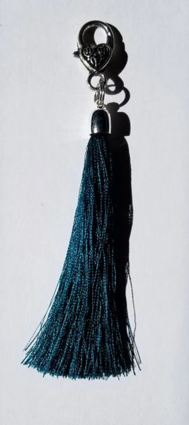 Deep Teal Silk Tassels with Clasp