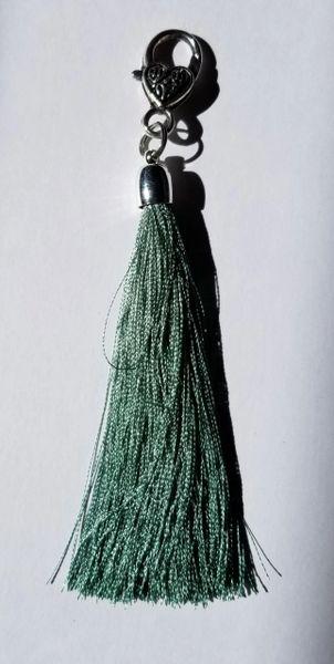 Cobalt Green Medium Silk Tassels with Clasp