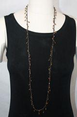 Long Black Irish Linen Crocheted Lariat with Hand-Wired Bronze Beads